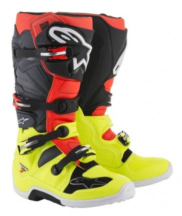 ALPINESTARS TECH 7 BOOT YELLOW FLO/RED FLO/GREY/BLACK
