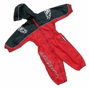 Wulfsport Kids One Piece Waterproof Suit Red/Blue